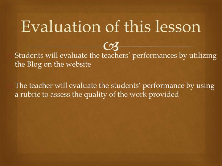 Evaluation of this lesson