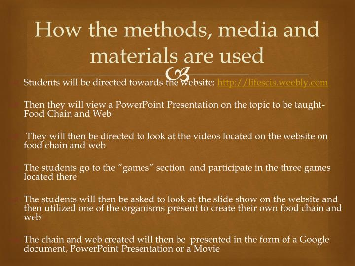 How the methods, media and materials are used