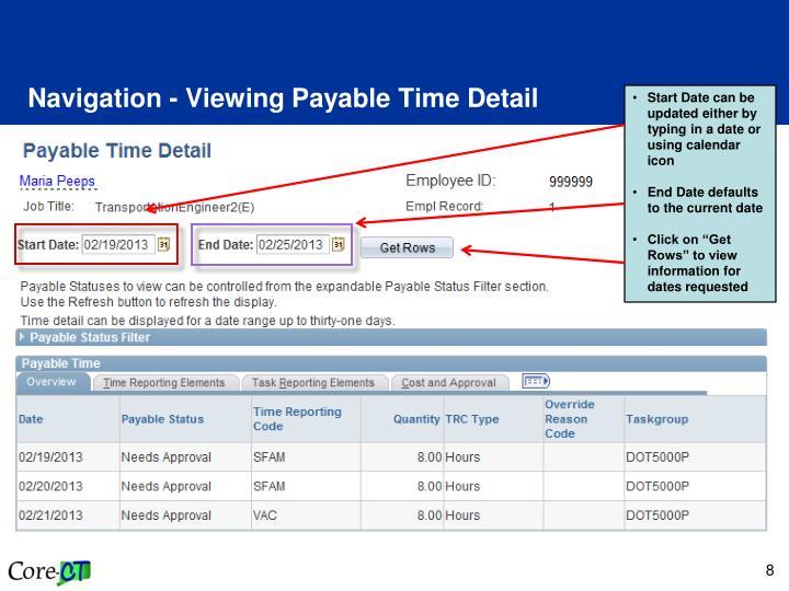 Navigation - Viewing Payable Time Detail
