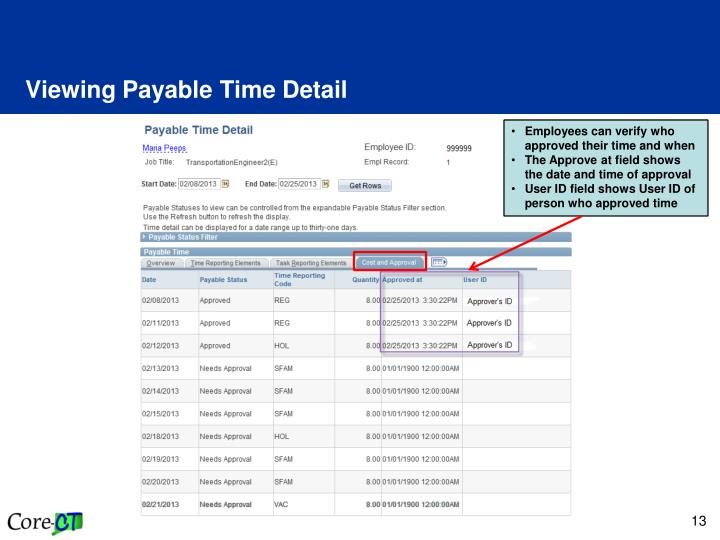 Viewing Payable Time Detail