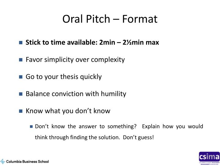 Oral Pitch – Format