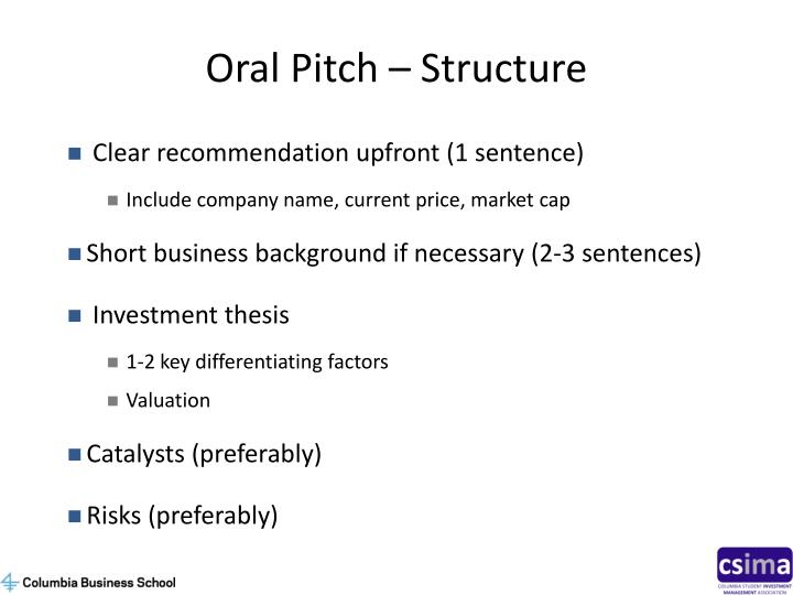 Oral Pitch – Structure