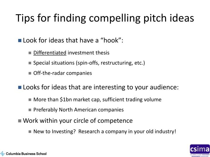 Tips for finding compelling pitch ideas