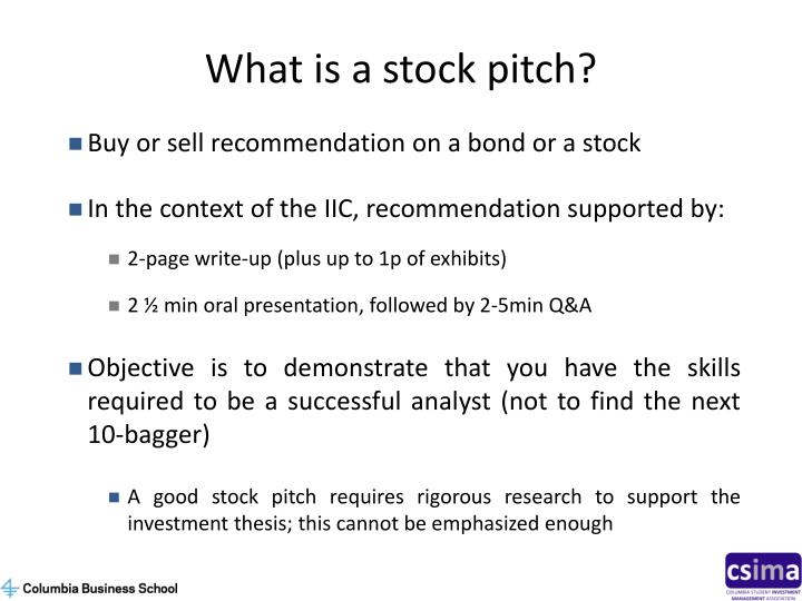 What is a stock pitch?