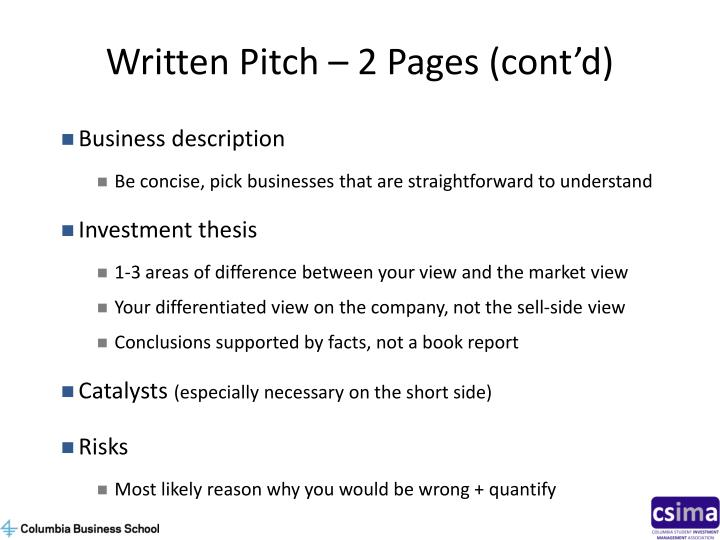 Written Pitch – 2 Pages (cont'd)