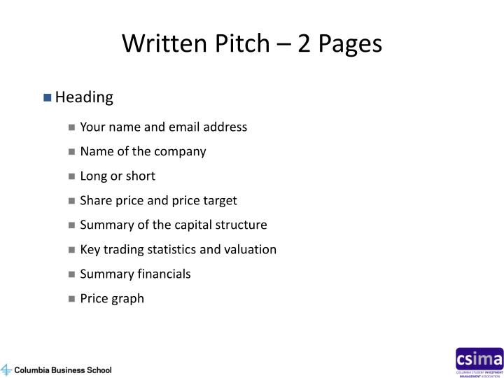 Written Pitch – 2 Pages