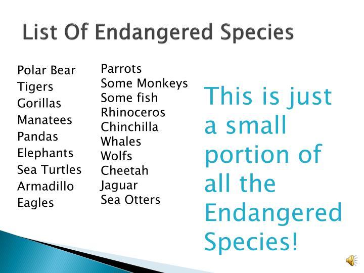 List Of Endangered Species