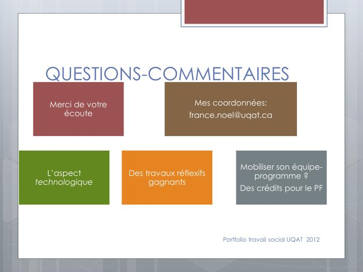 QUESTIONS-COMMENTAIRES