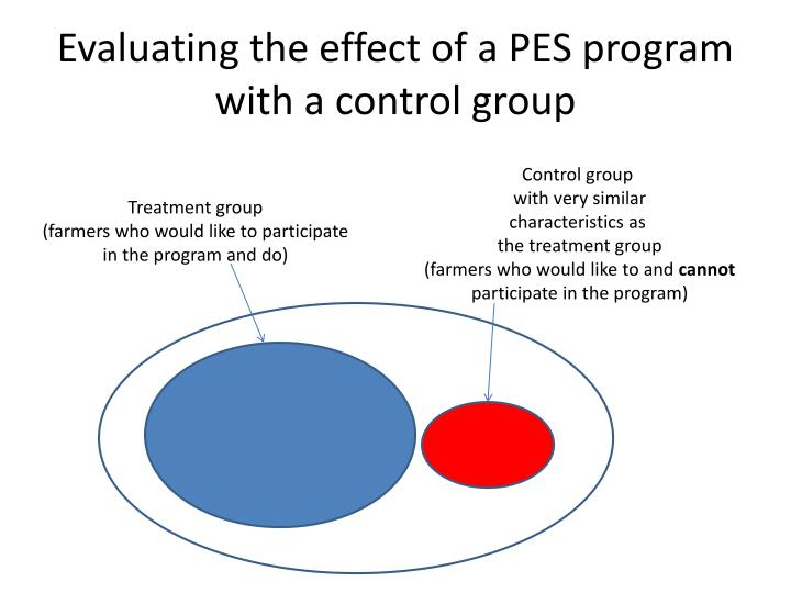Evaluating the effect of a PES program with a control group