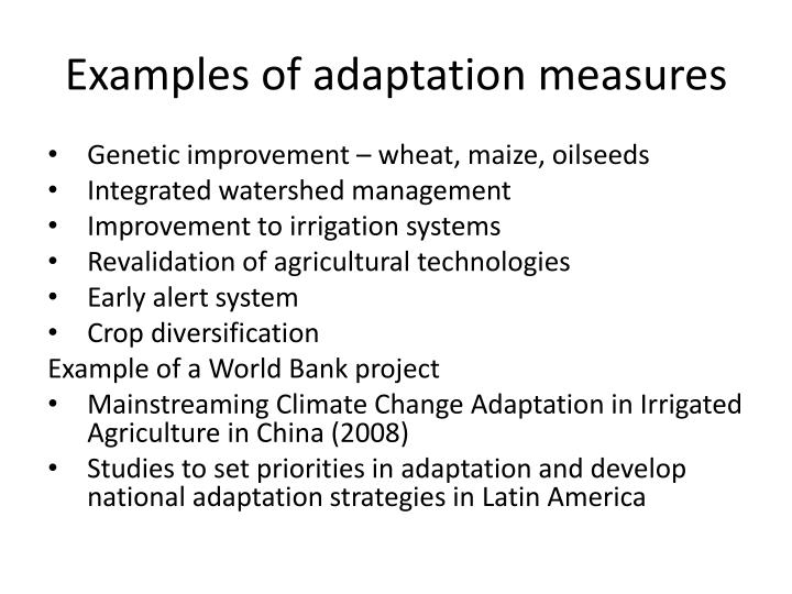 Examples of adaptation measures
