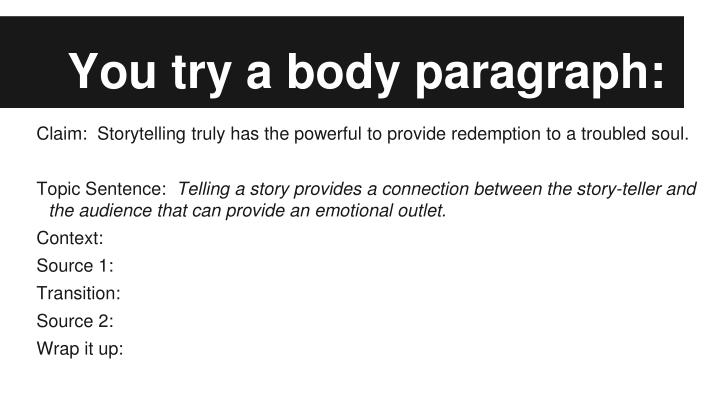 You try a body paragraph: