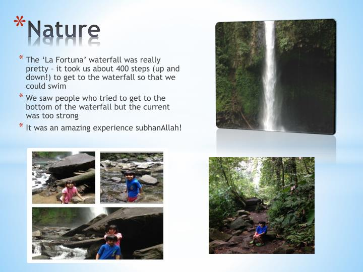 The 'La Fortuna' waterfall was really pretty – it took us about 400 steps (up and down!) to get to the waterfall so that we could swim