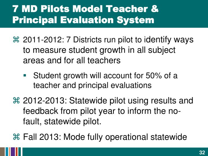 7 MD Pilots Model Teacher & Principal Evaluation System