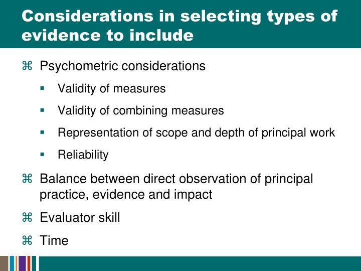 Considerations in selecting types of evidence to include