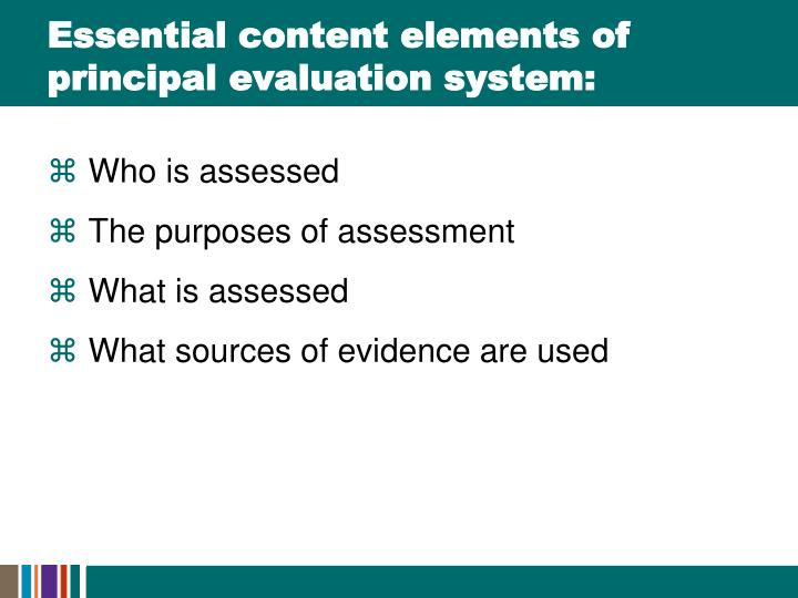 Essential content elements of principal evaluation system:
