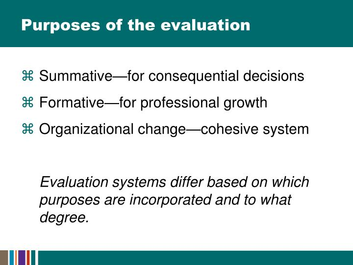 Purposes of the evaluation