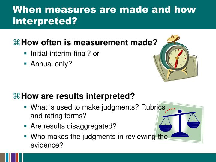 When measures are made and how interpreted?