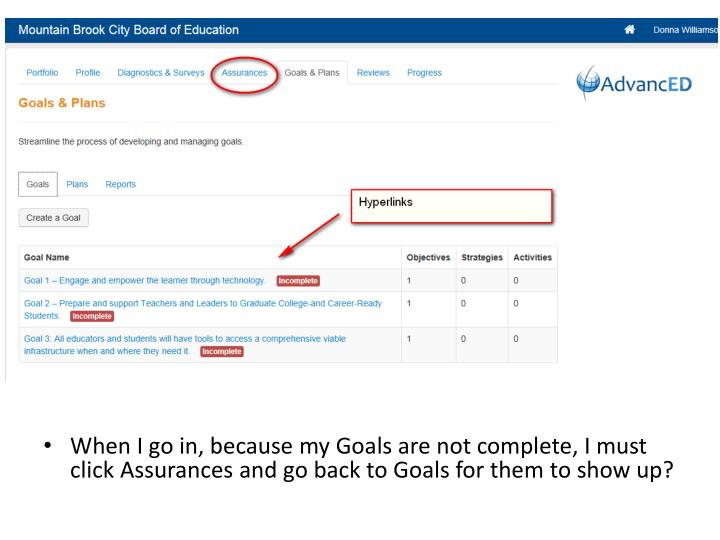 When I go in, because my Goals are not complete, I must click Assurances and go back to Goals for them to show up?