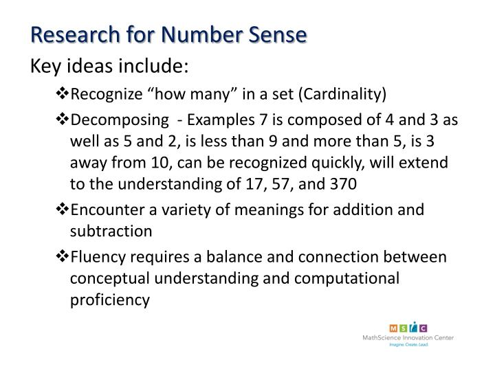 Research for Number Sense