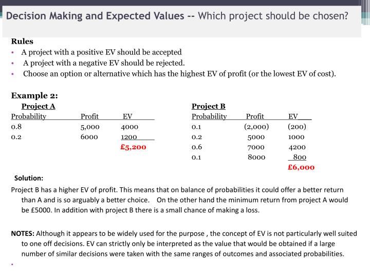 Decision Making and Expected Values --