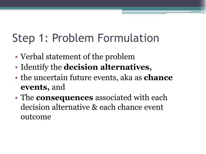 Step 1: Problem Formulation