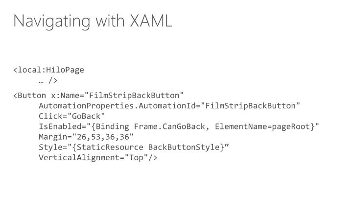 Navigating with XAML