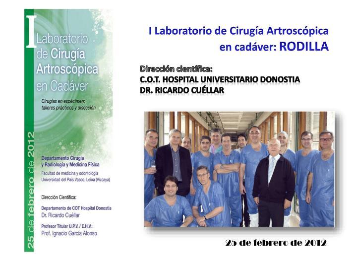 I Laboratorio de Cirugía Artroscópica