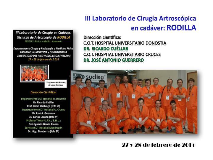 III Laboratorio de Cirugía Artroscópica