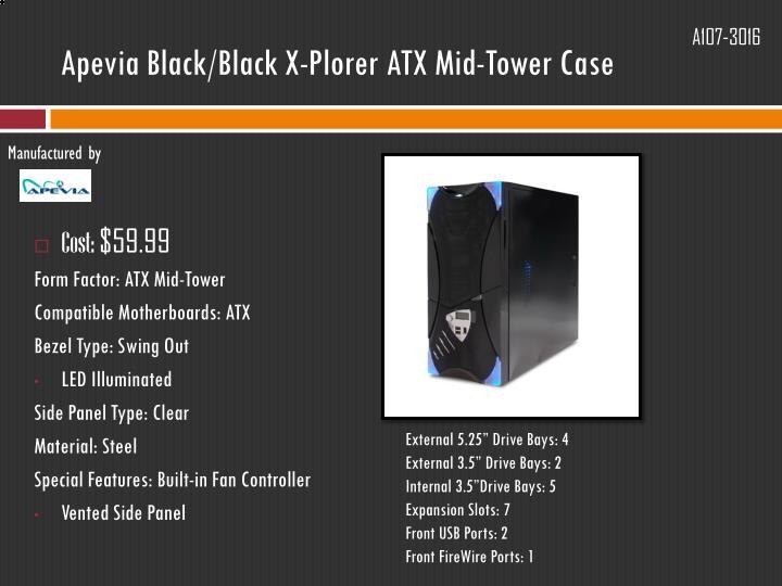 Apevia Black/Black X-Plorer ATX Mid-Tower Case