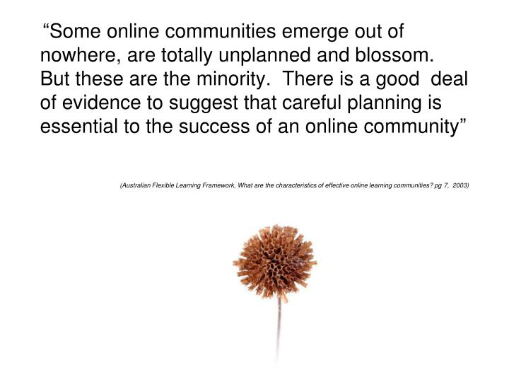"""Some online communities emerge out of nowhere, are totally unplanned and blossom.  But these are the minority.  There is a good  deal of evidence to suggest that careful planning is essential to the success of an online community"""