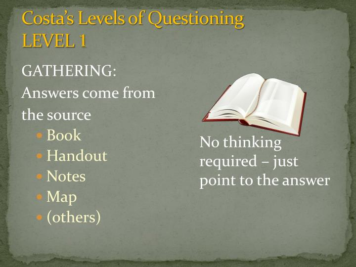Costa s levels of questioning level 1
