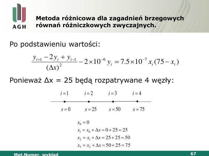 Metoda różnicowa dla zagadnień brzegowych równań różniczkowych zwyczajnych.