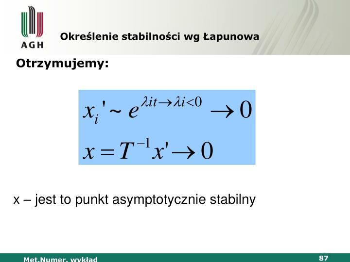 Określenie stabilności wg
