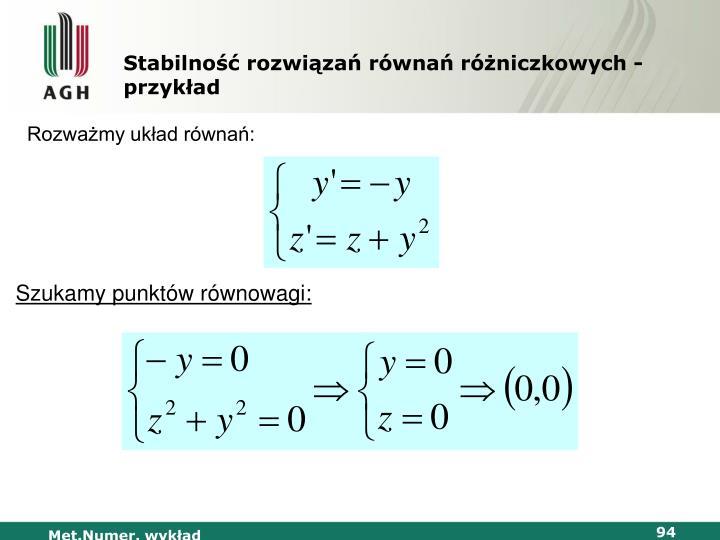 Stabilność rozwiązań równań różniczkowych - przykład