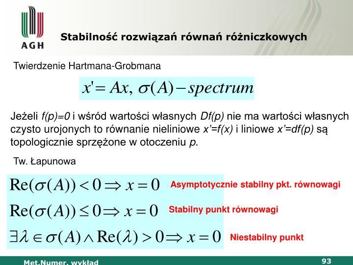Stabilność rozwiązań równań różniczkowych