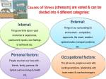 causes of stress stressors are varied can be divided into 4 different categories