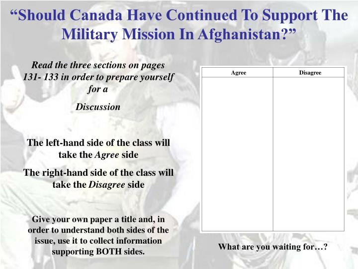 """Should Canada Have Continued"