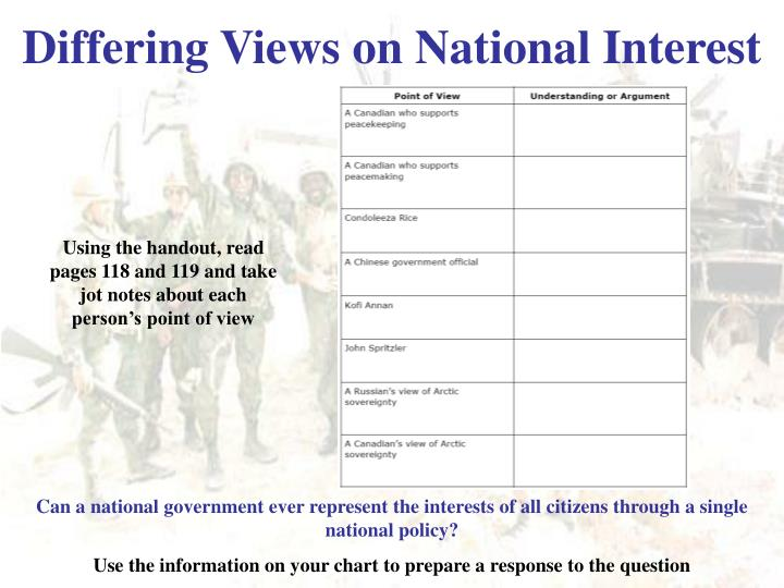 Differing Views on National Interest