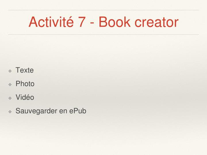 Activité 7 - Book creator