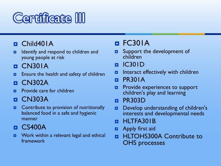 Certificate III