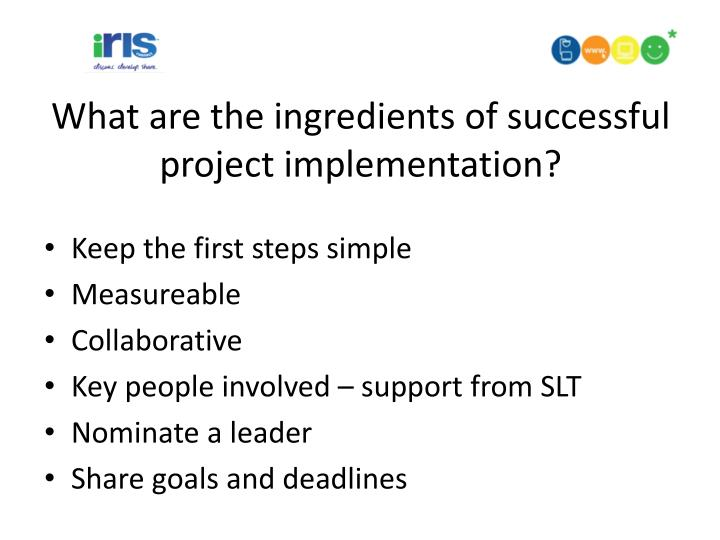 What are the ingredients of successful project implementation
