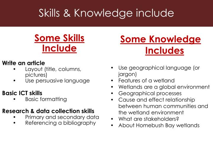Skills & Knowledge include