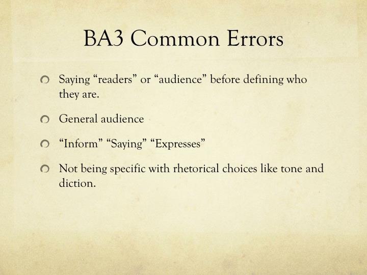 BA3 Common Errors