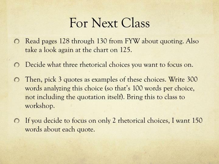 For Next Class