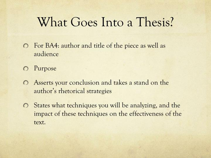 What Goes Into a Thesis?
