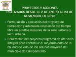 proyectos y acciones realizados desde el 2 de enero al 23 de noviembre de 2012