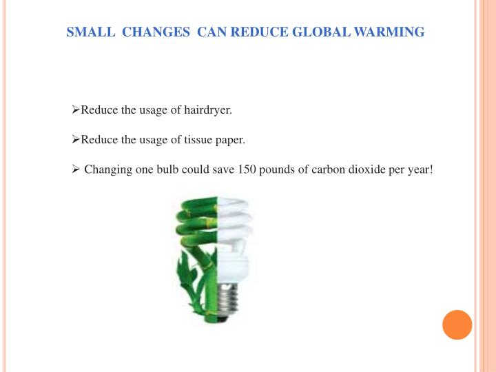 SMALL  CHANGES  CAN REDUCE GLOBAL WARMING