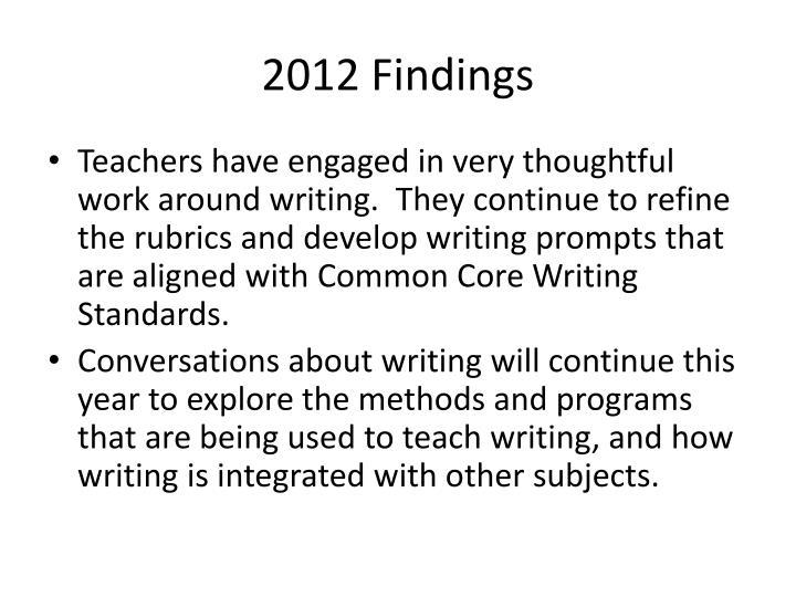 2012 Findings