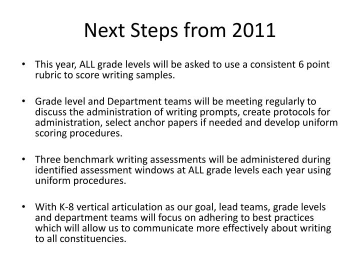 Next steps from 2011