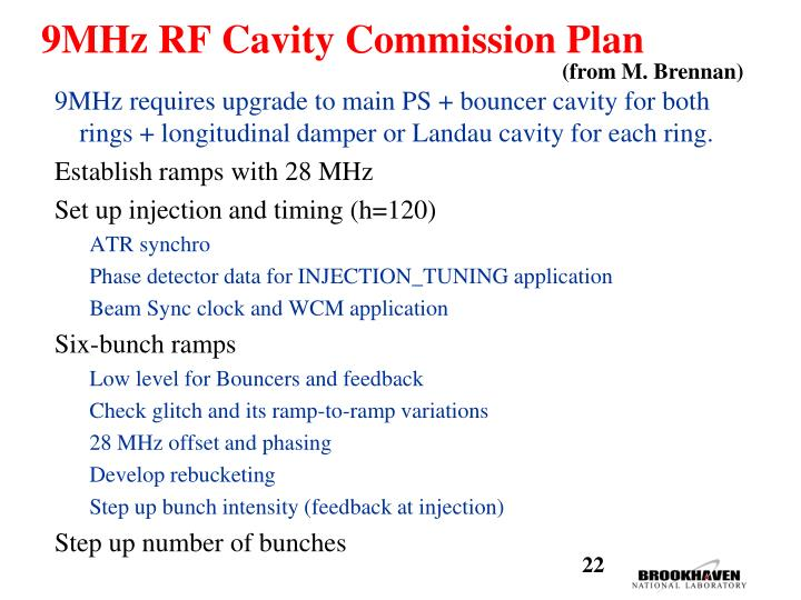 9MHz RF Cavity Commission Plan
